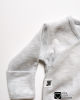 fold over scratch mittens baby bodysuit gray